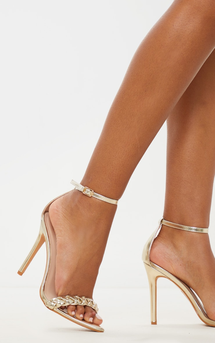 Gold Plaited Strap Point Toe Heeled Sandal 1