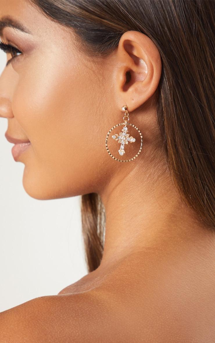 Gold Diamante Mini Cross Hoop Drop Earrings 3
