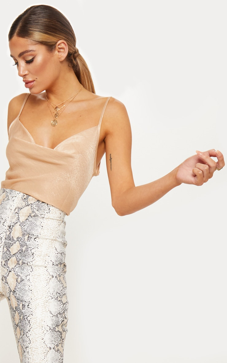 Champagne Hammered Satin Cowl Cami 5