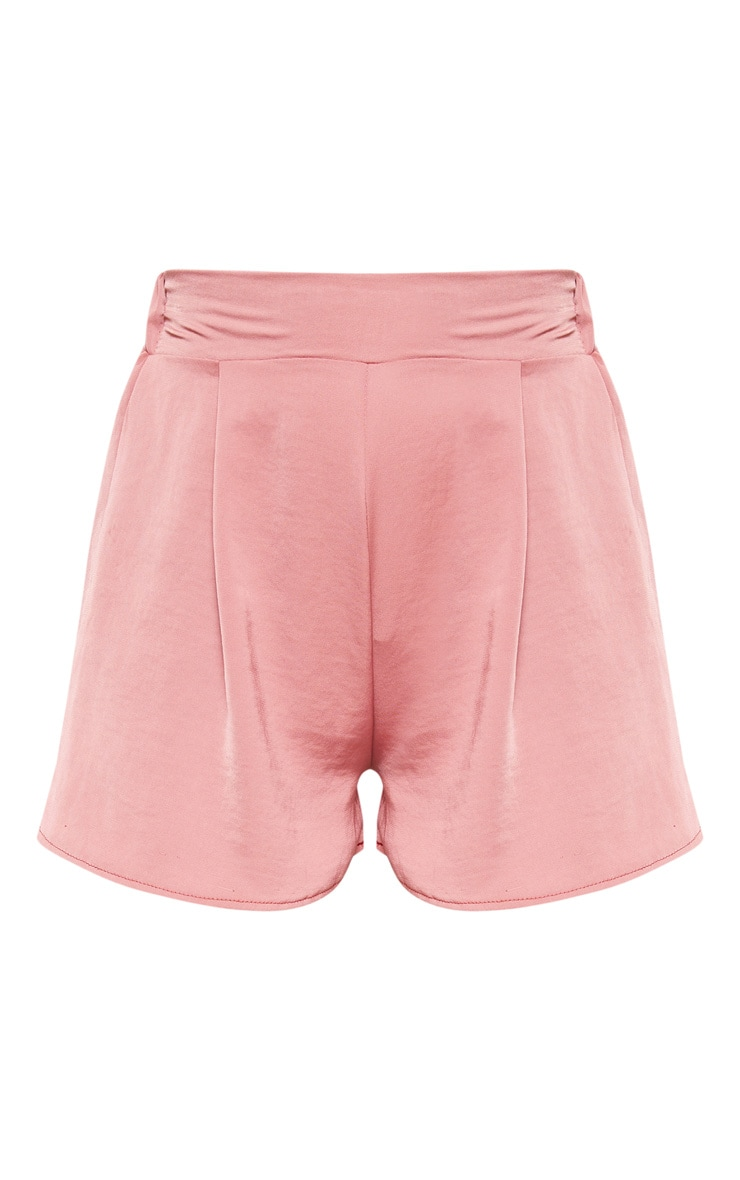 Dusty Pink Woven Pleat Front Floaty Short  3