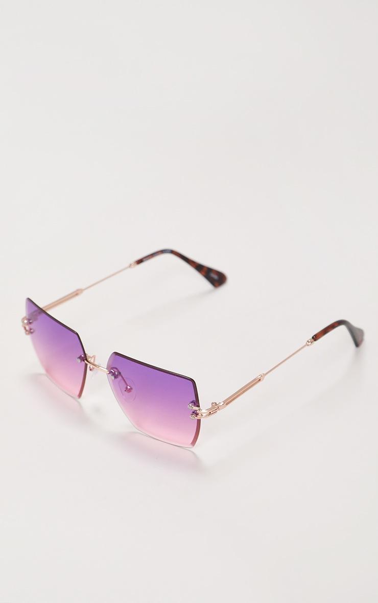 Lunettes de soleil carrées à verres dégradés violets