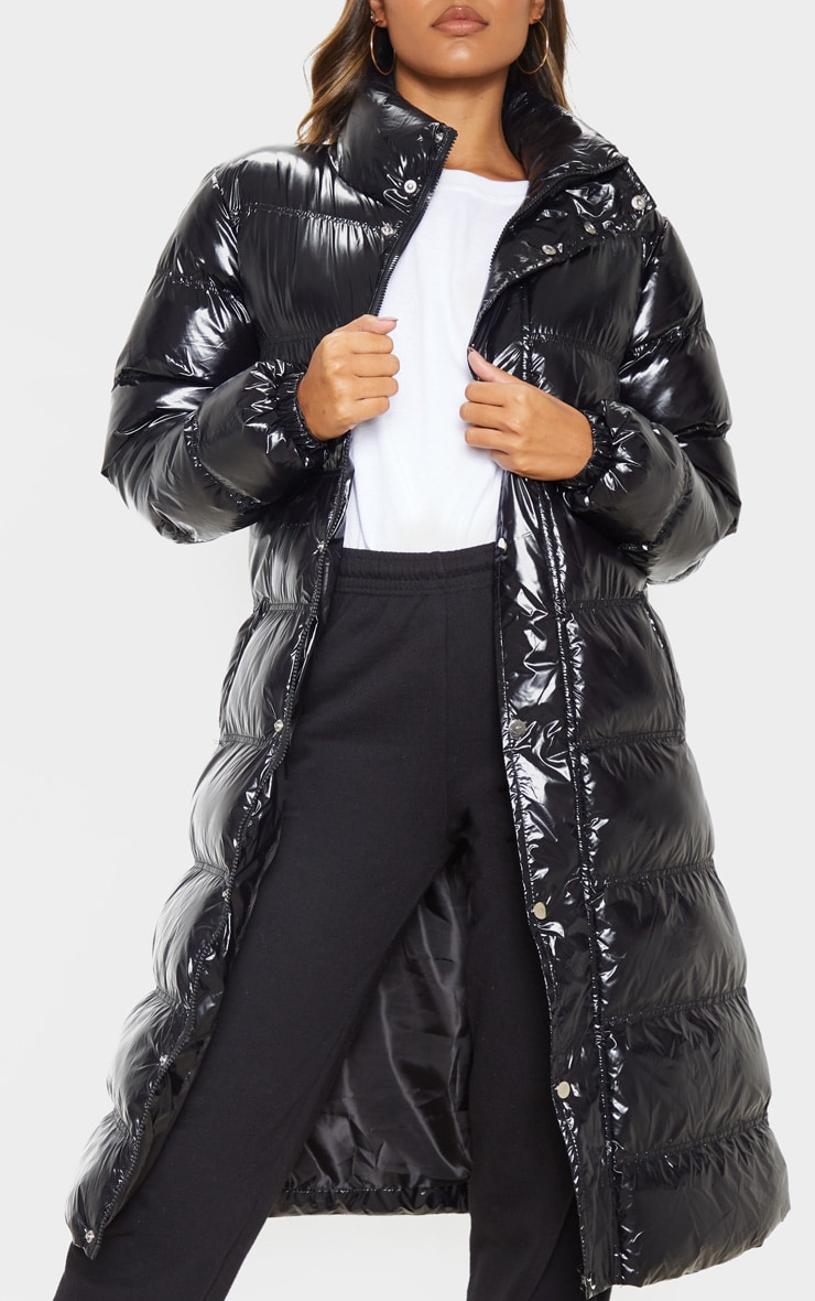 Black Maxi High Shine Fitted Puffer 5