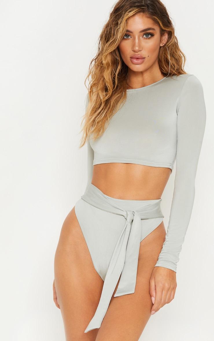 Sage Green Long Sleeve Bikini Top 1