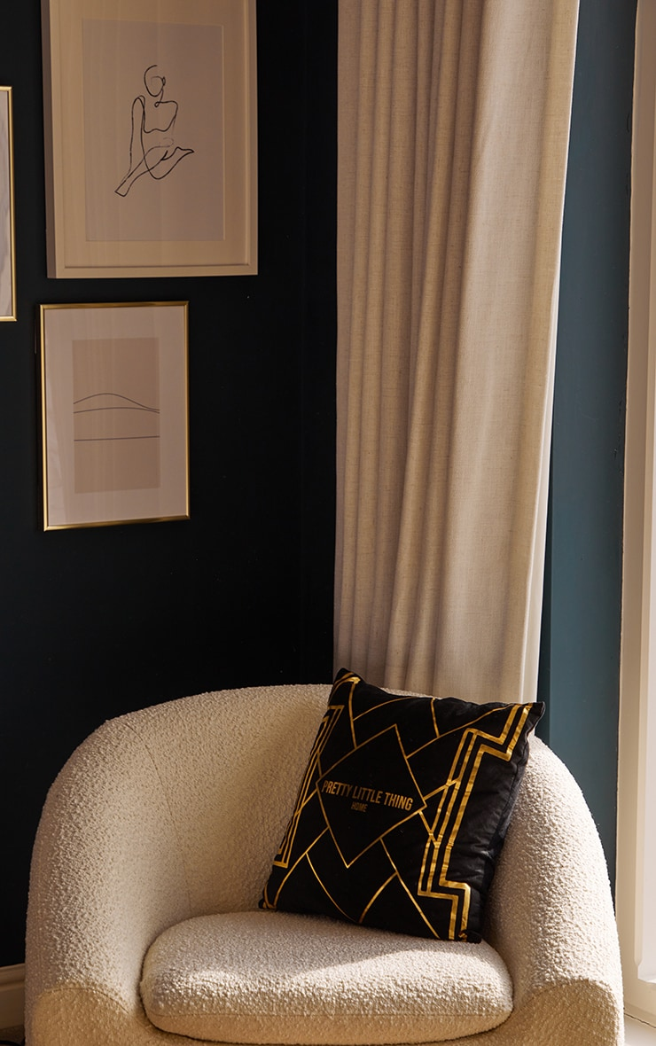 PRETTYLITTLETHING Black with Gold Geo Print Cushion 1