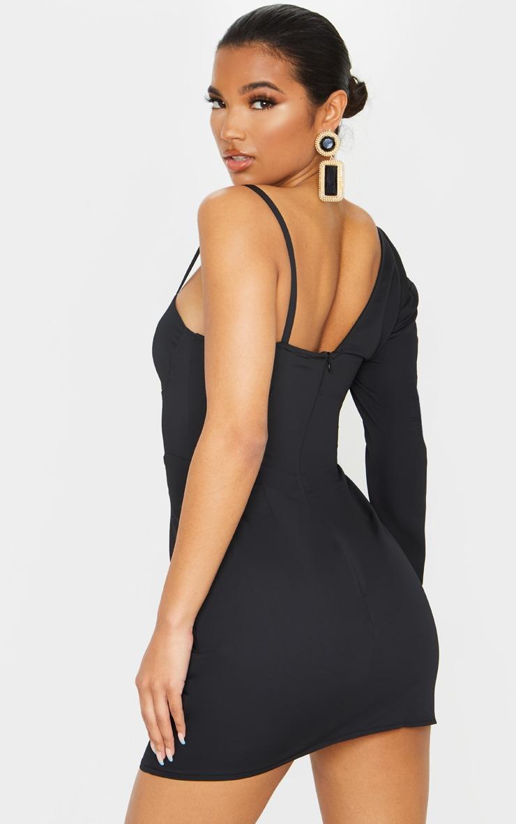 Black Matte Satin One Shoulder Button Detail Bodycon Dress 2