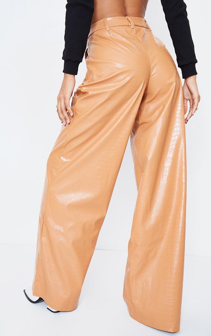 Camel Croc Faux Leather Wide Leg Pants 4
