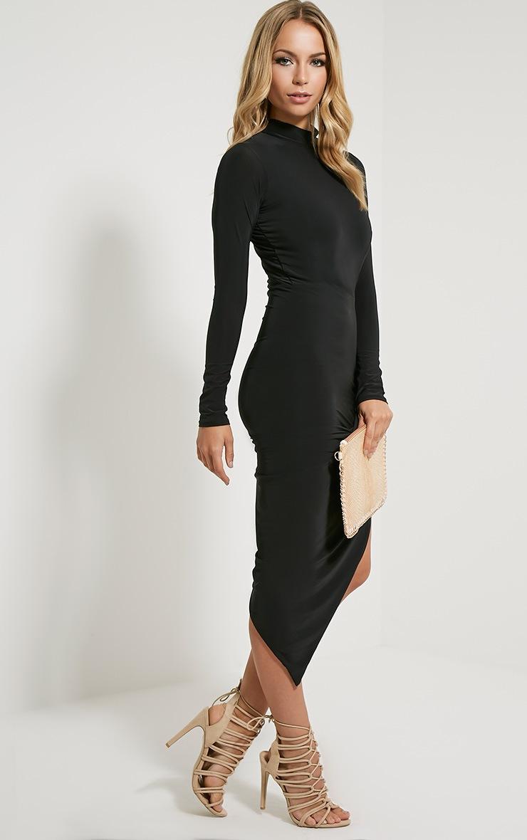 Saffy robe drapée manches longues noire 3