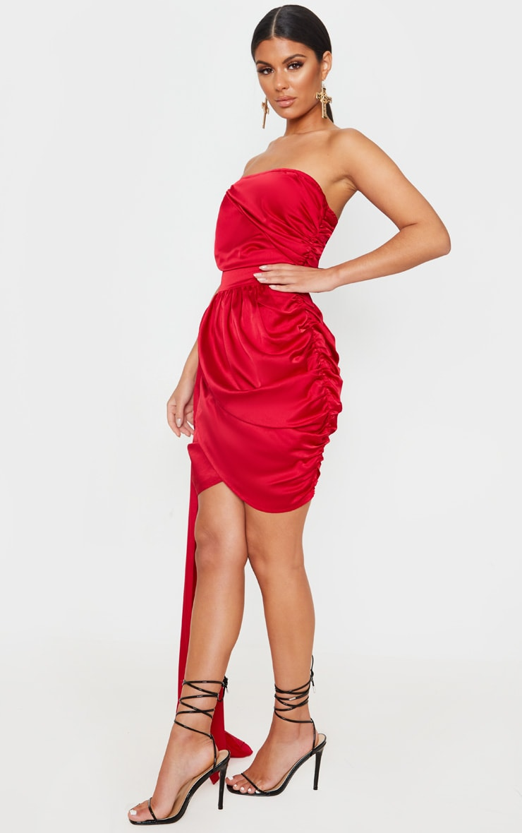 Red Satin Ruched Drape Detail Bodycon Dress 4