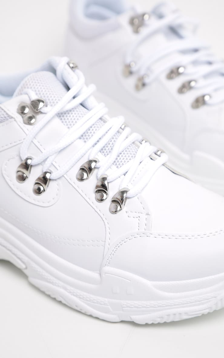 Hiker White Lace Chunky Trainer  4