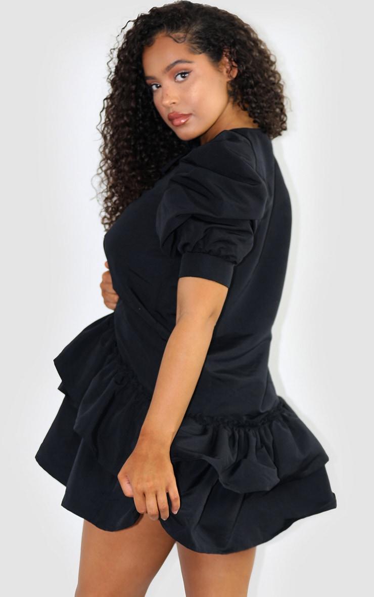 Black Woven Ruched Sleeve Frill Hem Shift Dress 2