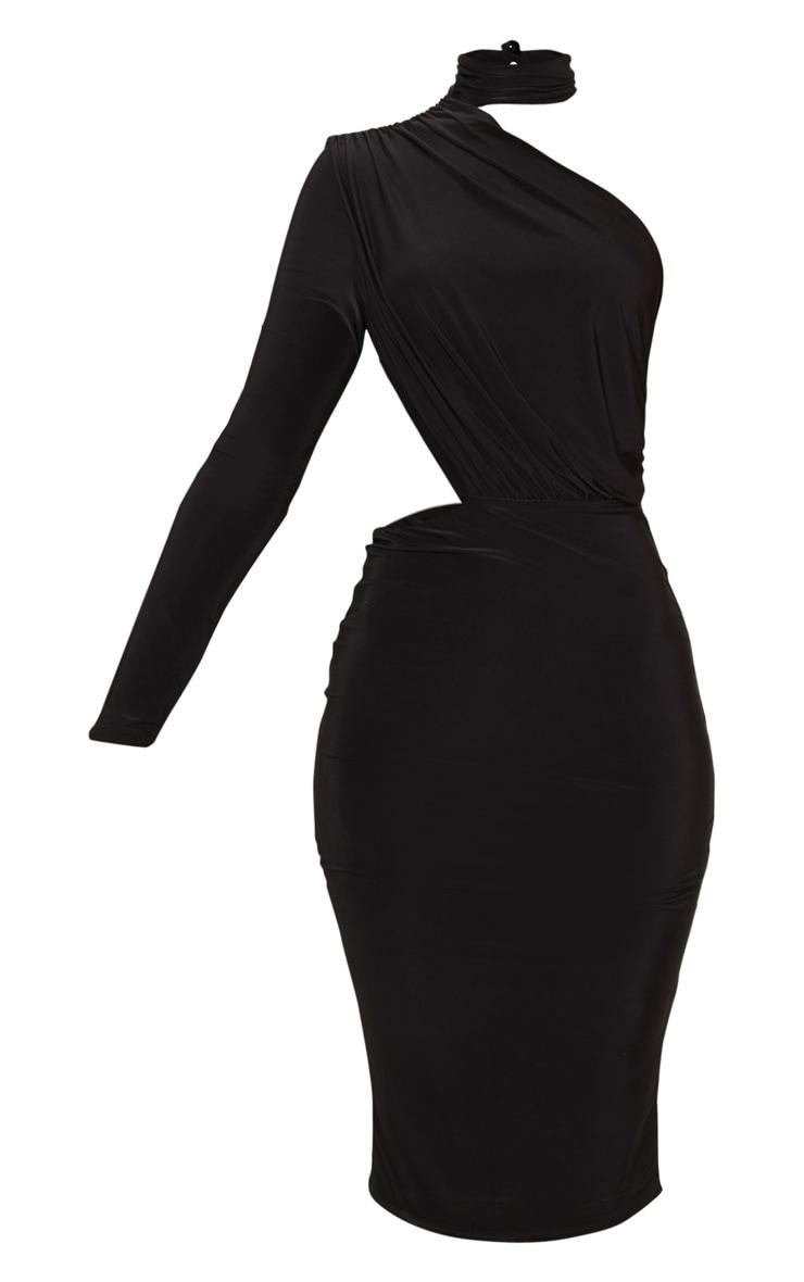 Black Ruched One Shoulder Midi Dress 3
