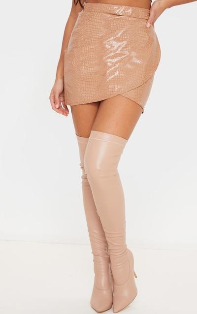 Stone Croc Vinyl Wrap Mini Skirt