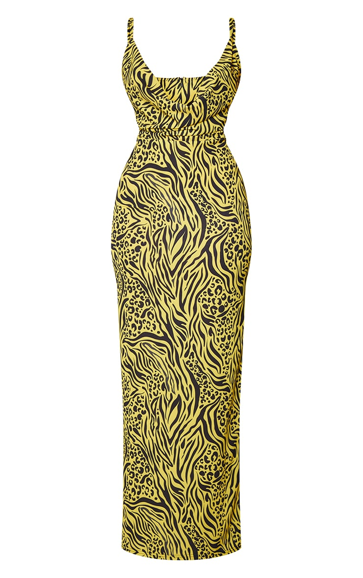 Yellow Mixed Animal Print Strappy Cowl Neck Maxi Dress 5