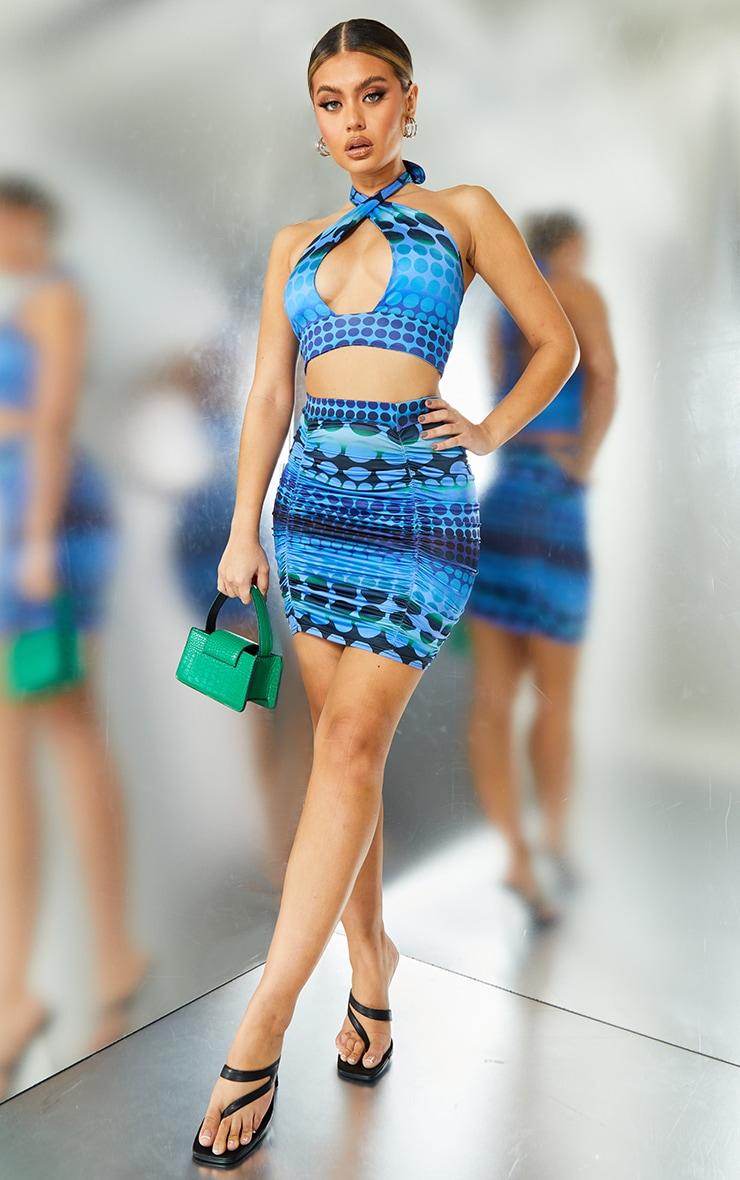 Bright Blue Swirl Print Slinky Ruched Mini Skirt 1