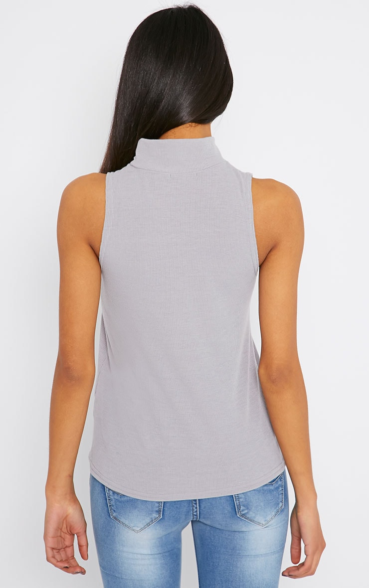 Basic Grey Sleeveless Turtle Neck 2