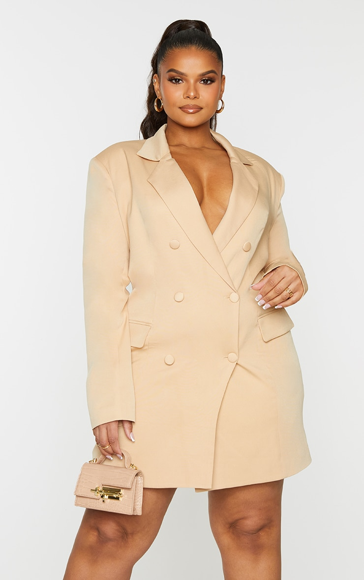 Plus Stone Double Breasted Structured Blazer Dress 3