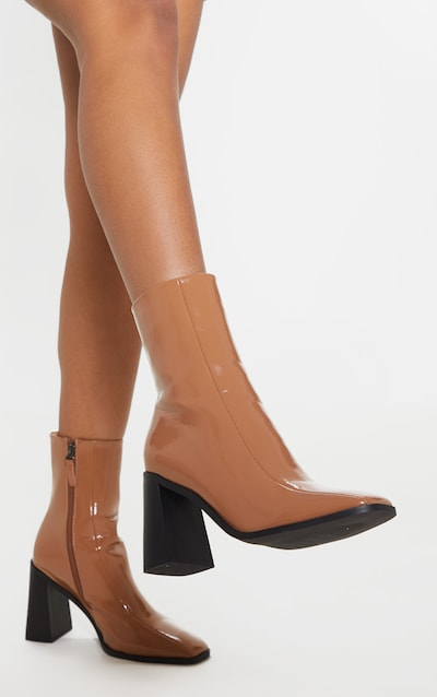 Taupe Patent Square Toe Block Heel Ankle Boot