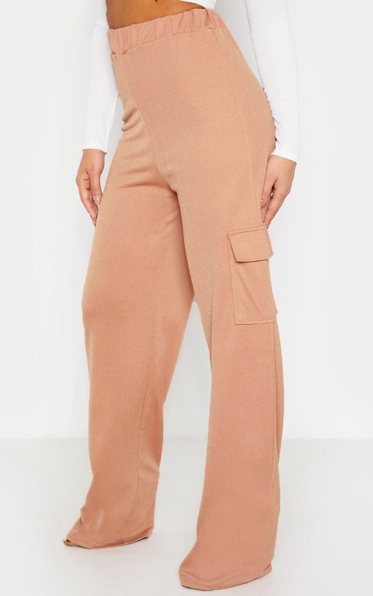 Petite Camel Cargo Wide Leg Pants  2
