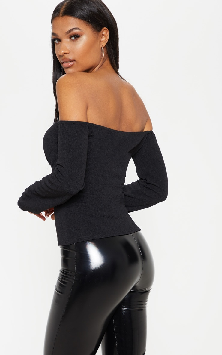 Black Long Sleeve Bardot Hook And Eye Top 2