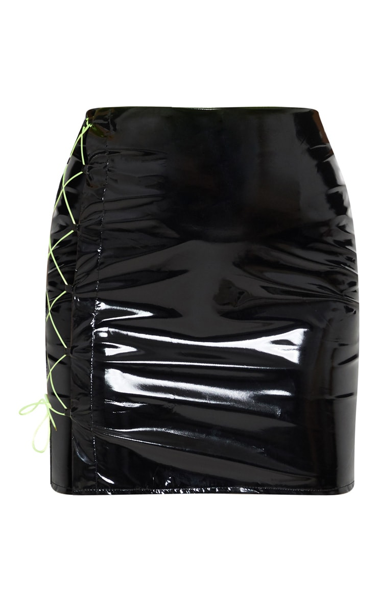 Black Vinyl Neon Lace Up Detail Mini Skirt  3