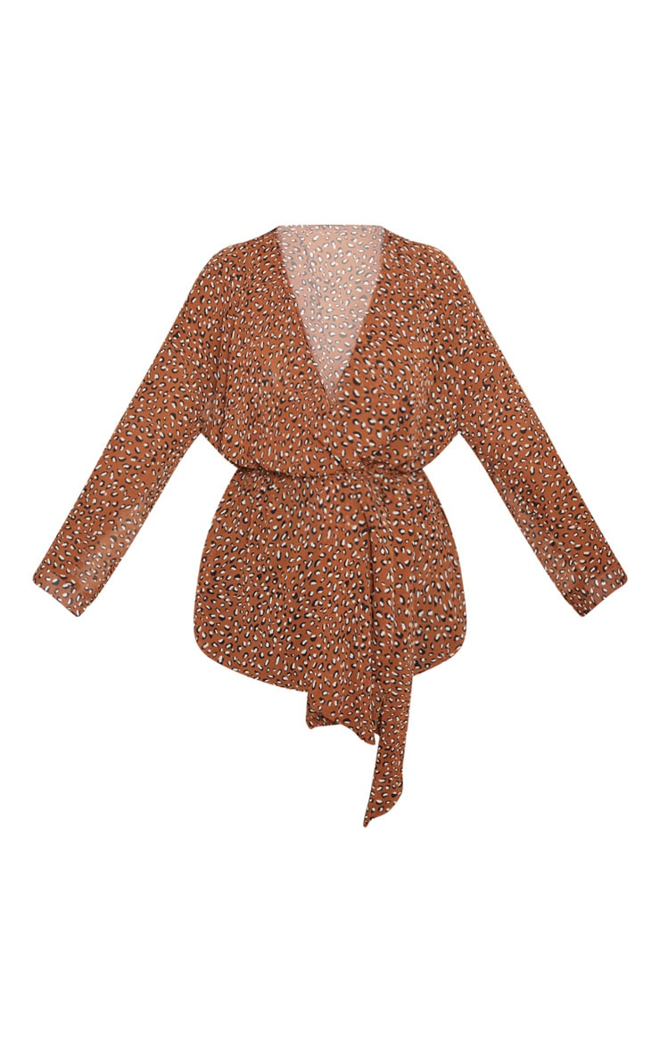 Plus Nude Leopard Print Woven Tie Waist Blouse 3