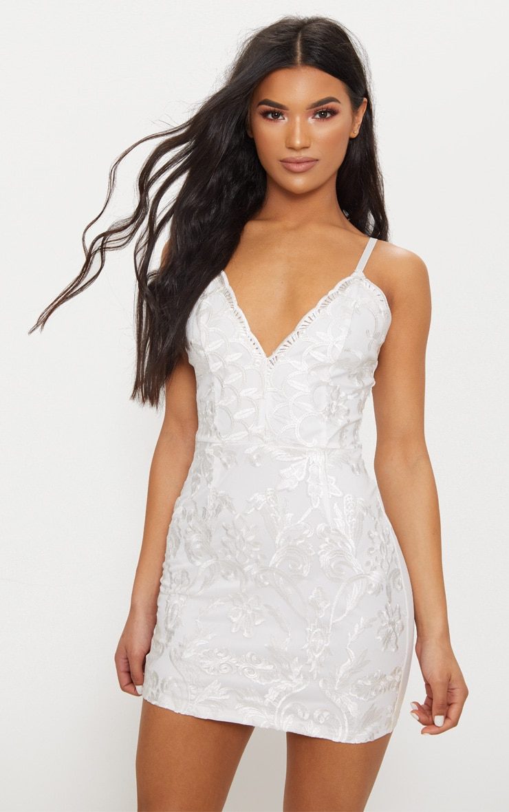 White Embroidered Lace Detail Plunge Bodycon Dress 1