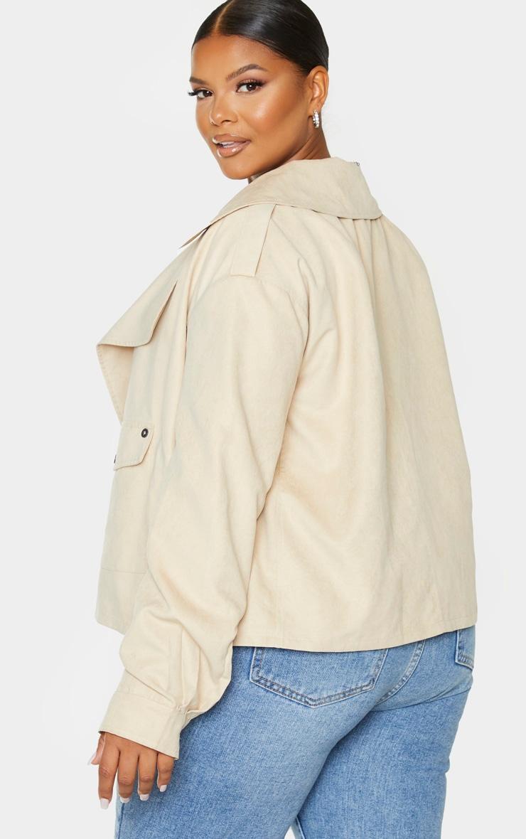 Plus Cream Faux Suede Button Detailed Jacket 2