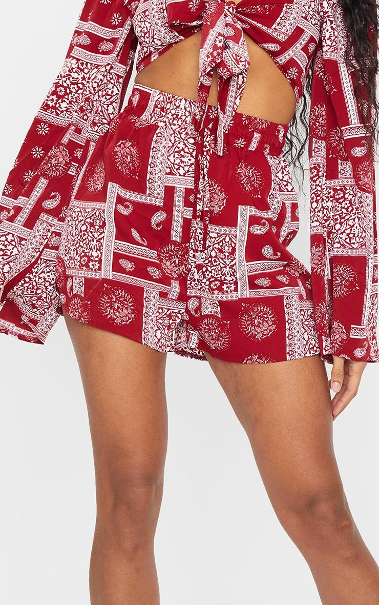 Red Floaty Paisley Print Shorts 5