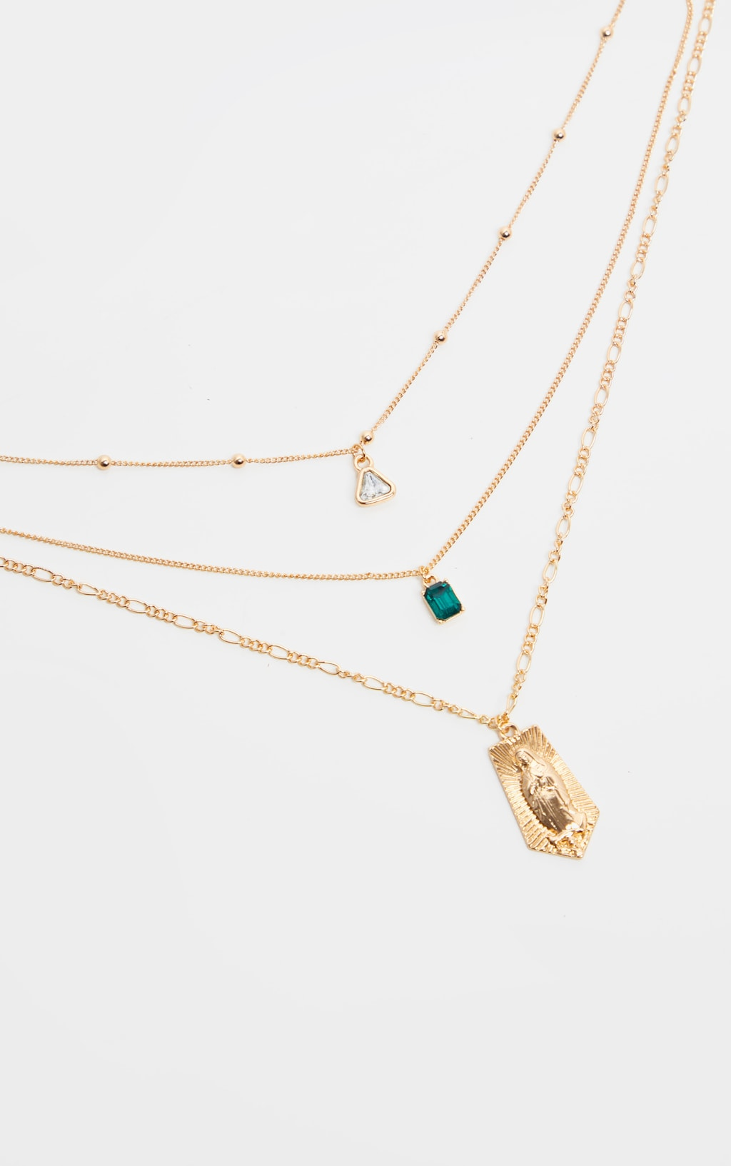 emerald-green-diamante-triple-layer-renaissance-necklace------ by prettylittlething