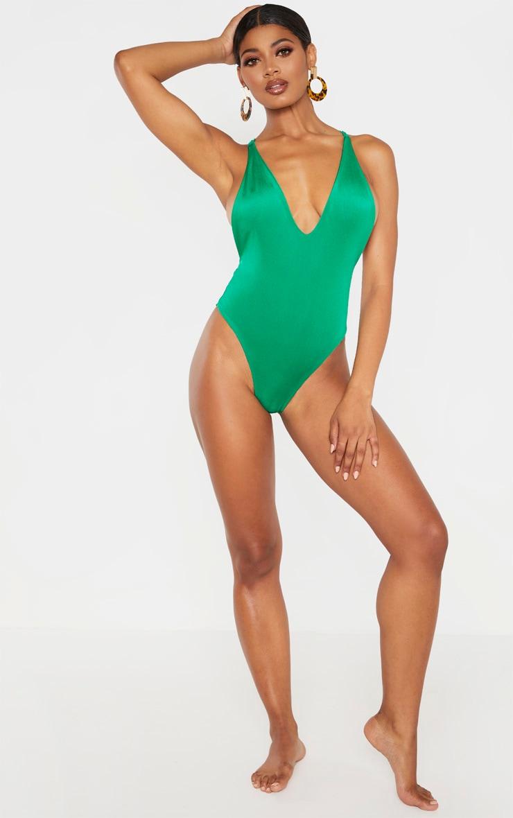 Tall Green Cross Back Low Swimsuit 1