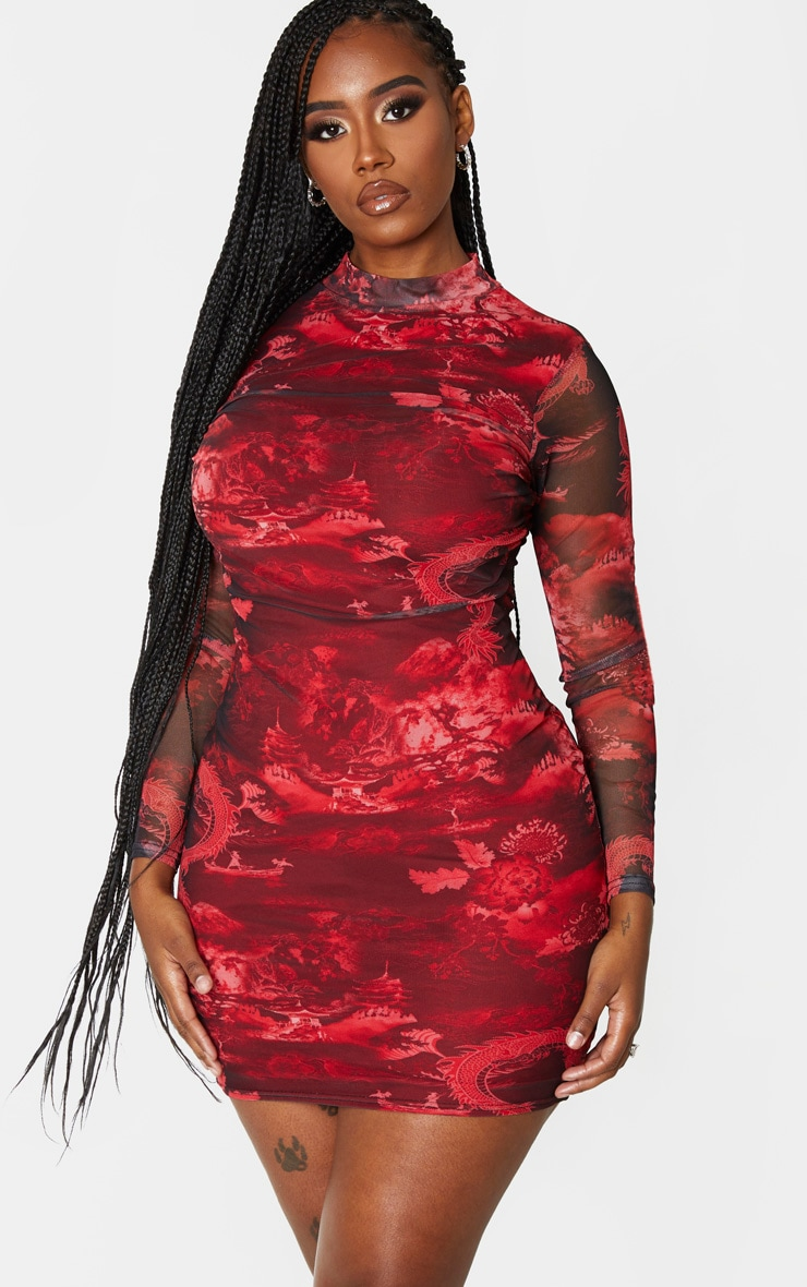 Shape Red Oriental Print High Neck Mesh Bodycon Dress 1