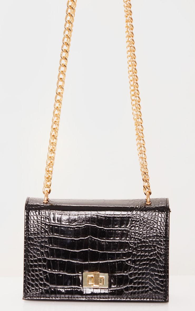 Black Patent Croc Flap Square Cross Body Bag 3
