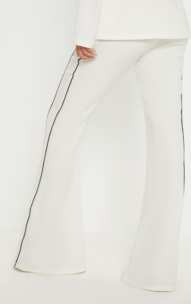 Cream Contrast Trim Flared Trouser 4