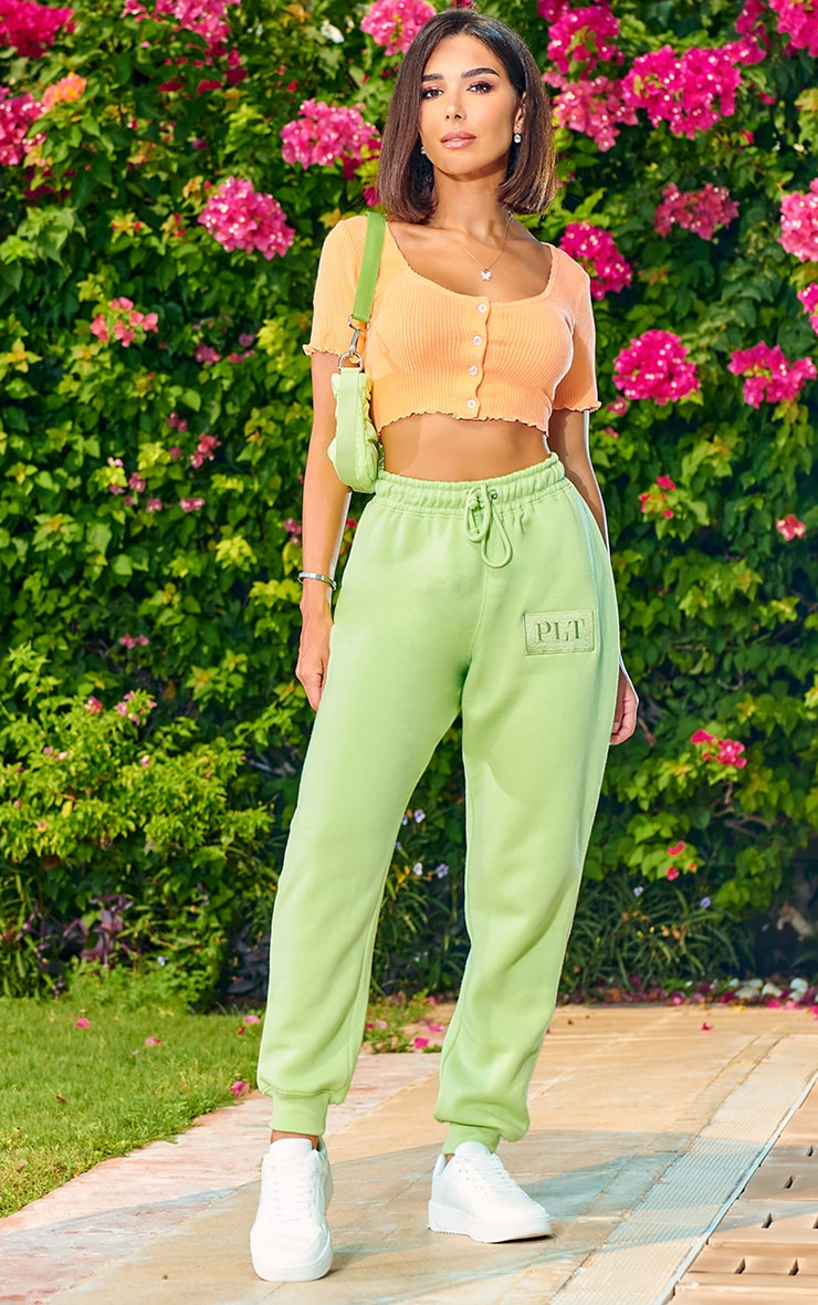 PRETTYLITTLETHING Lime Logo Joggers 1