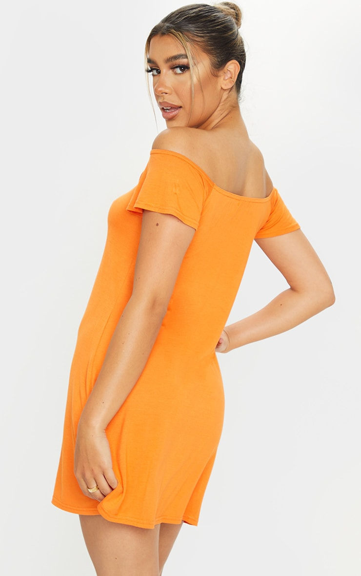 Orange Jersey Bardot Shift Dress 2