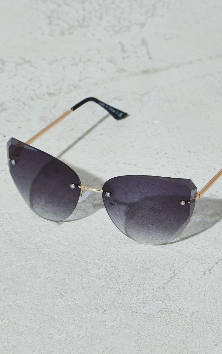 Black Exposed Faceted Frame Cat Eye Sunglasses 2
