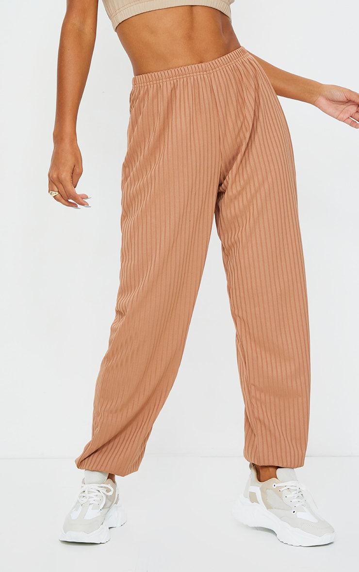 Camel Ribbed Casual Joggers 2