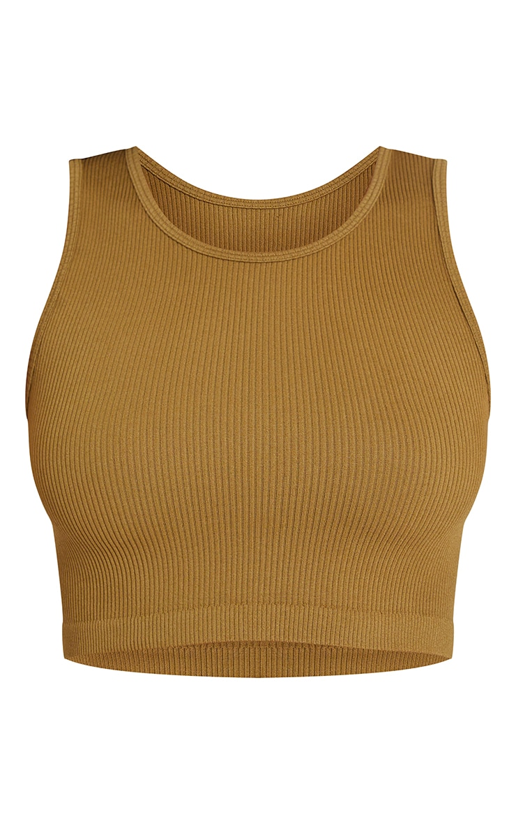 Olive Structured Contour Rib Sleeveless Crop Top 5