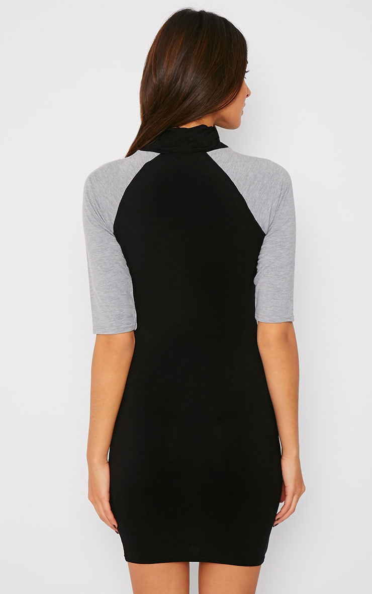 Leslie Black and Grey Turtle Neck Raglan Dress 2