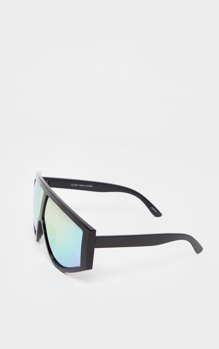 Black Frame Rose Lens Flat Top Modern Sunglasses 2