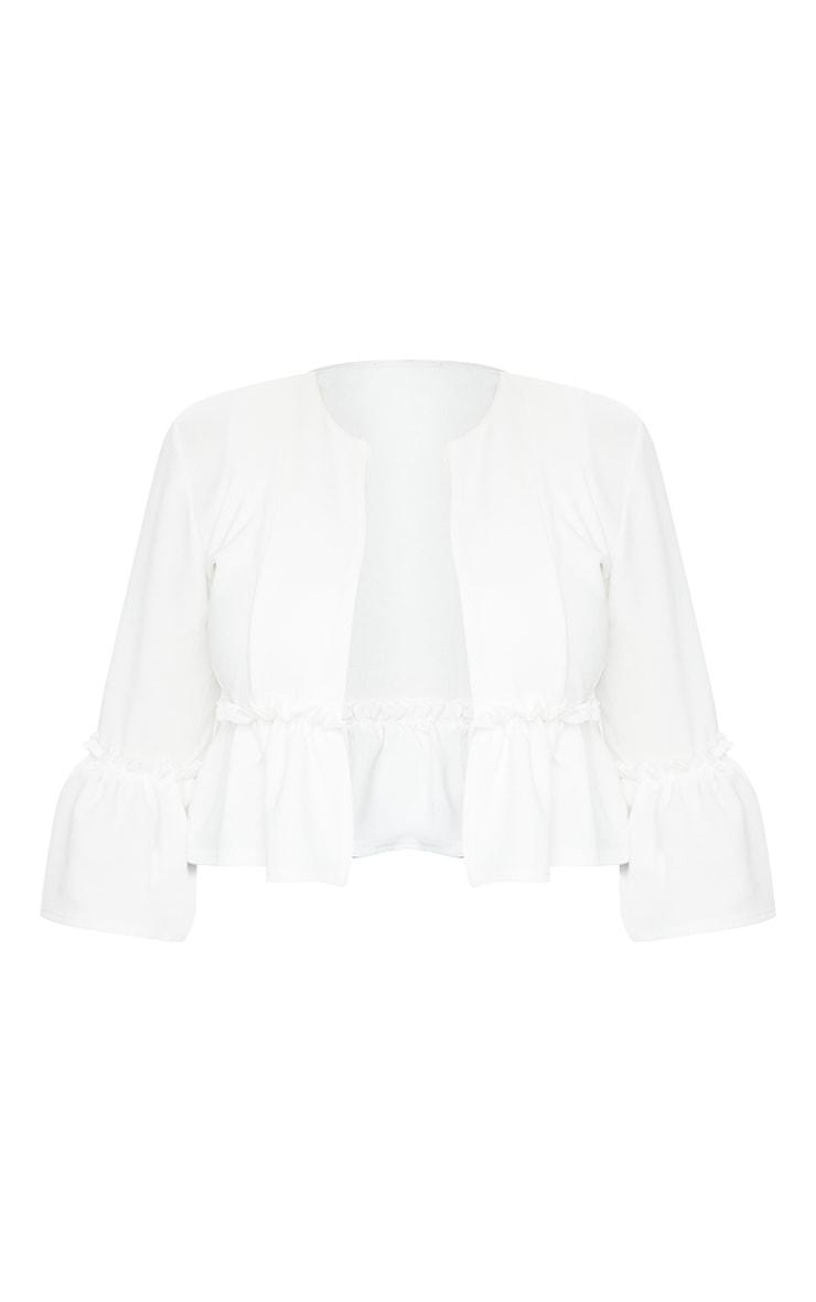 White Frill Sleeve Blazer 5