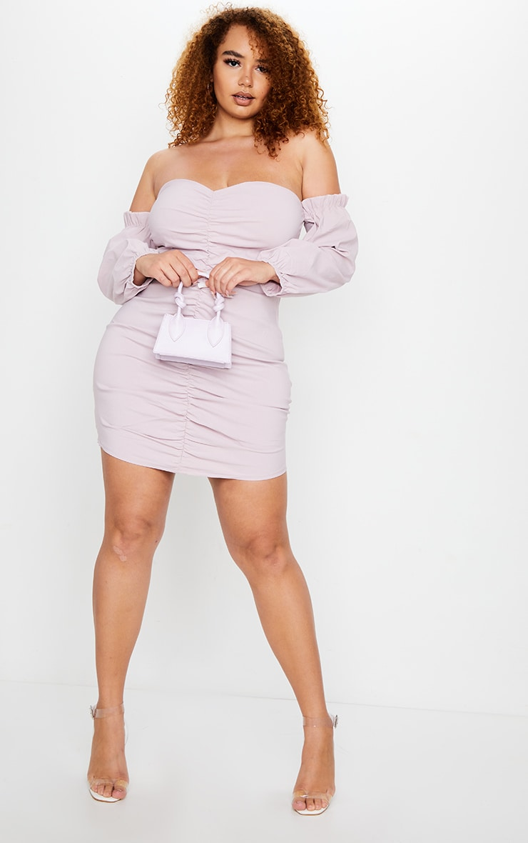 Plus Dusty Pink Stretch Bardot Ruched Front Bodycon Dress 1