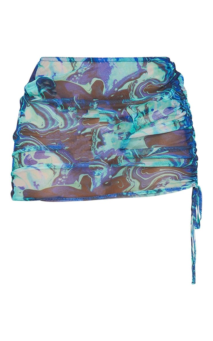 Blue Print Mesh Ruched Side Beach Skirt 6