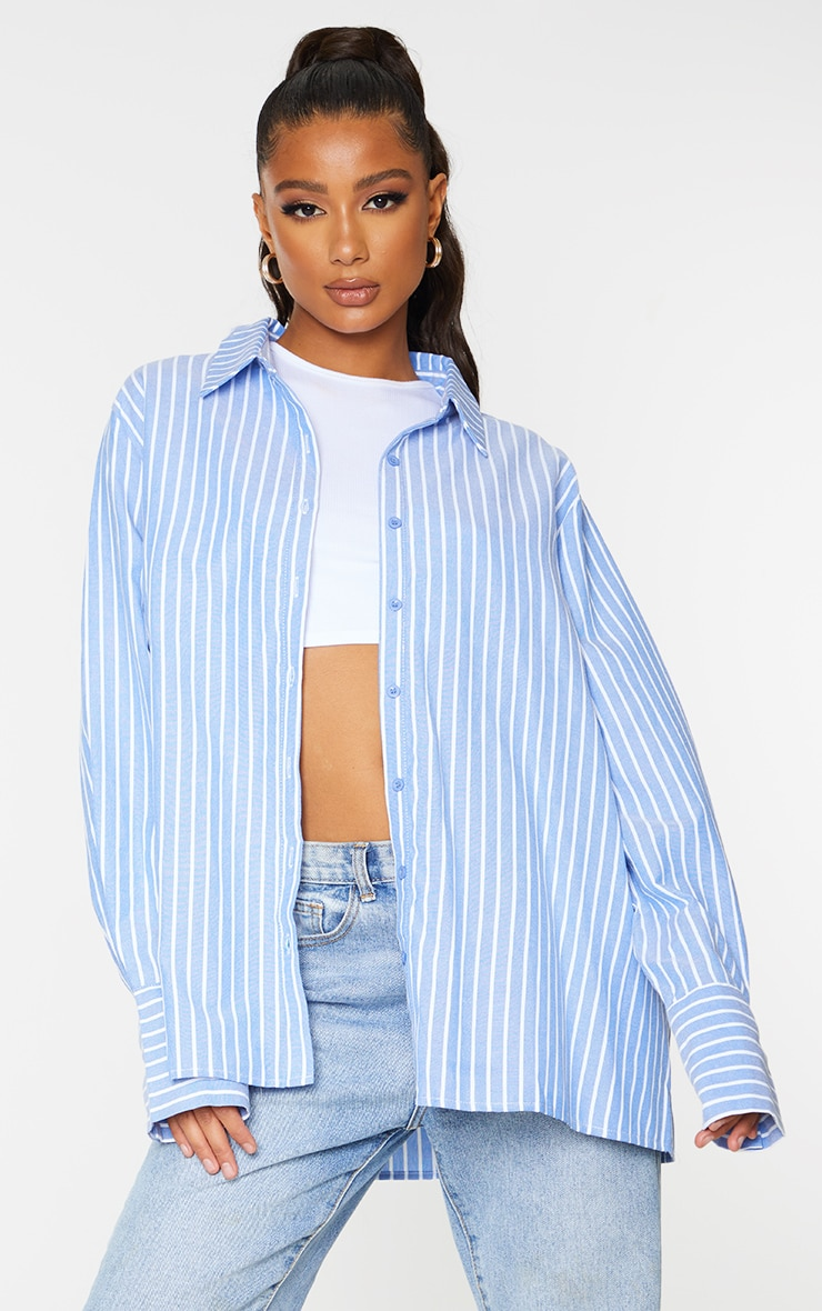 Blue Oversized Pinstripe Cuff Shirt 1