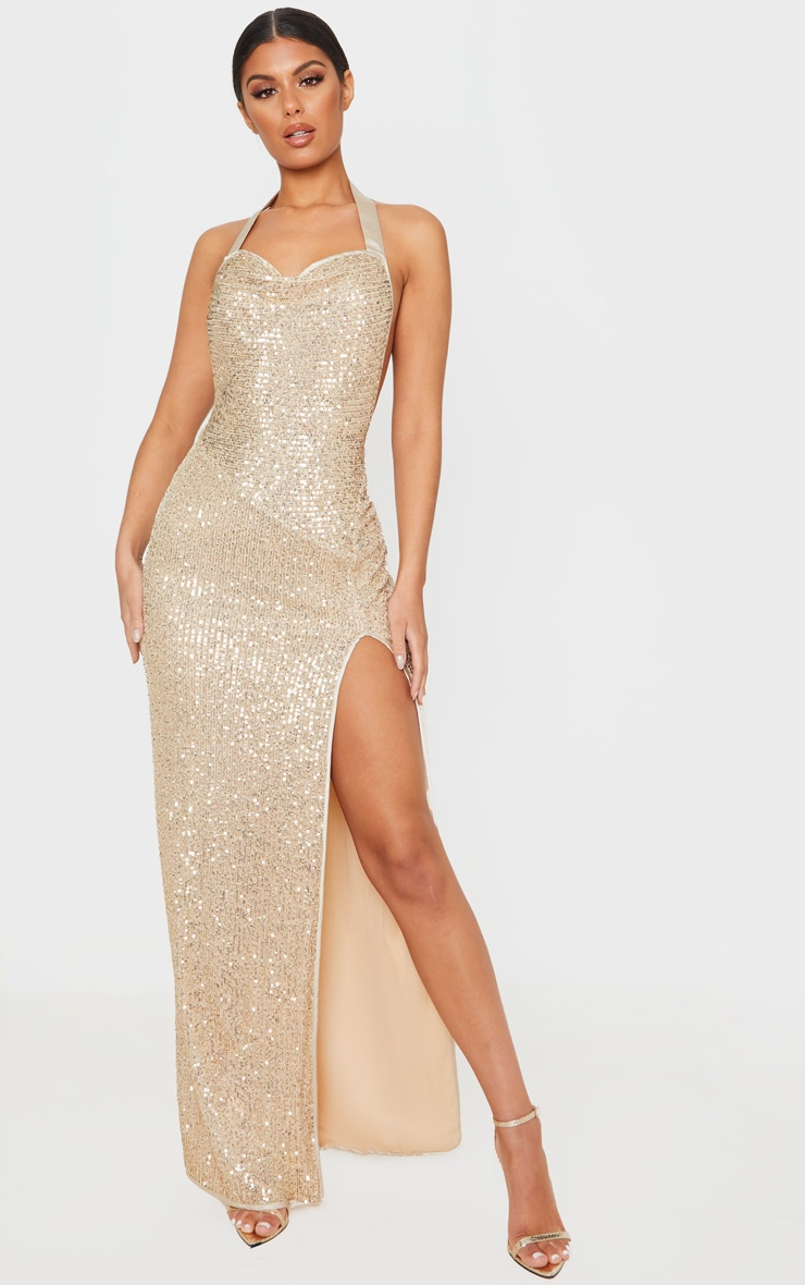 Gold Sequin Back Detail Maxi Dress 1