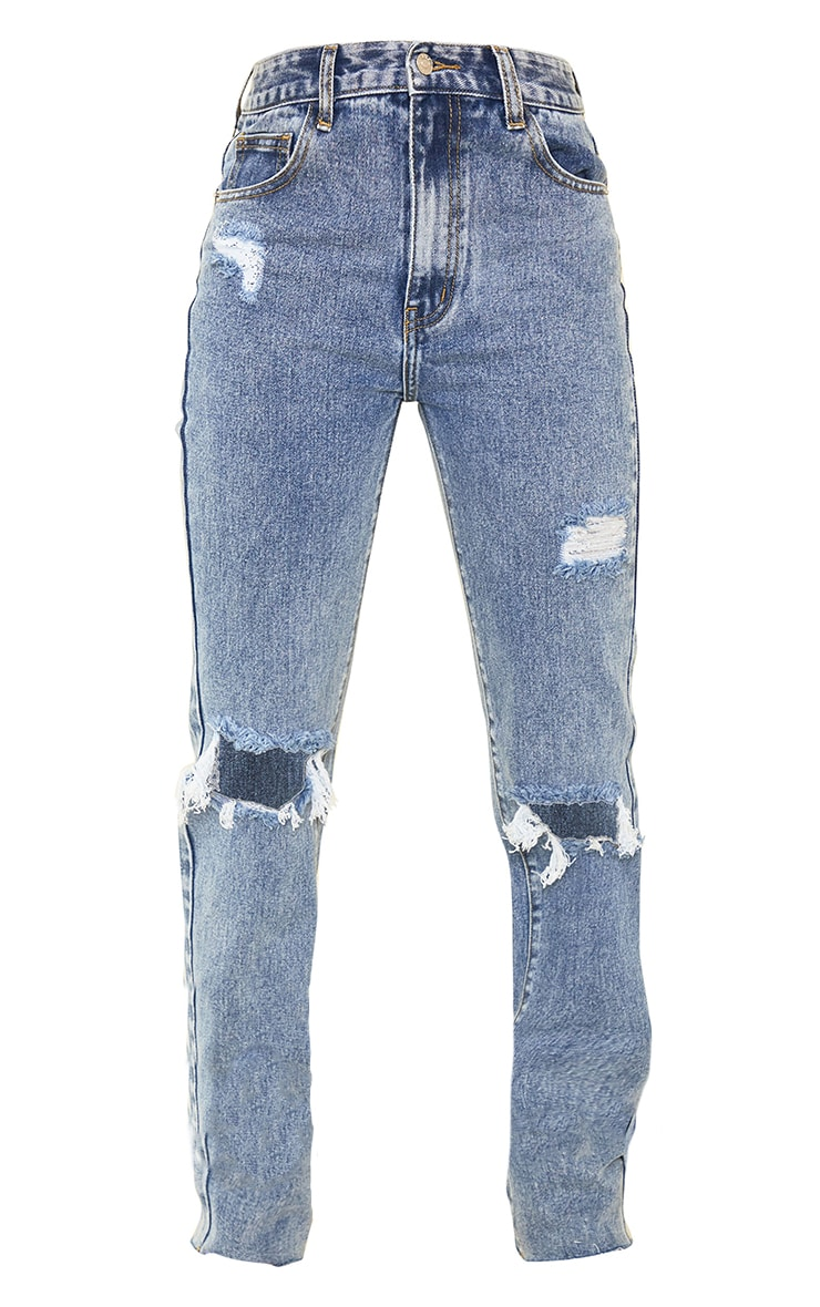 PRETTYLITTLETHING Blue Acid Wash Tall Distressed Long Leg Straight Jeans 5