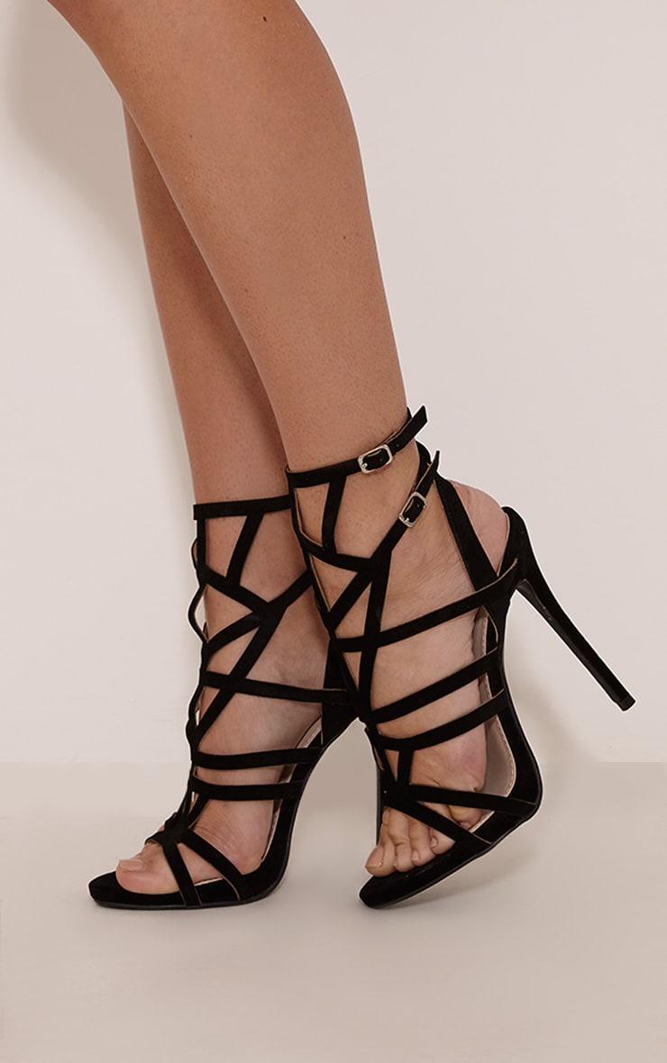 Sami Black Faux Suede Cut Out Heeled Sandals 2