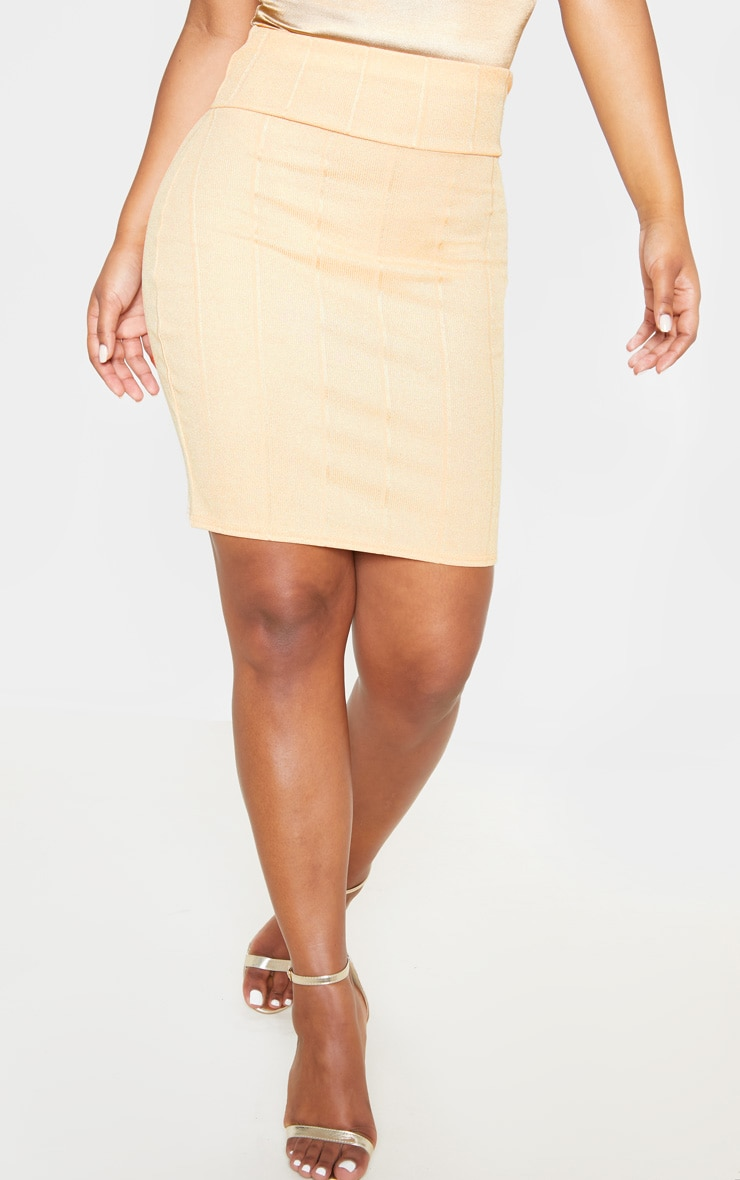Gold Metallic Rib Super High Waisted Mini Skirt  2