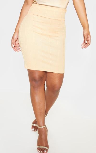 Gold Metallic Rib Super High Waisted Mini Skirt