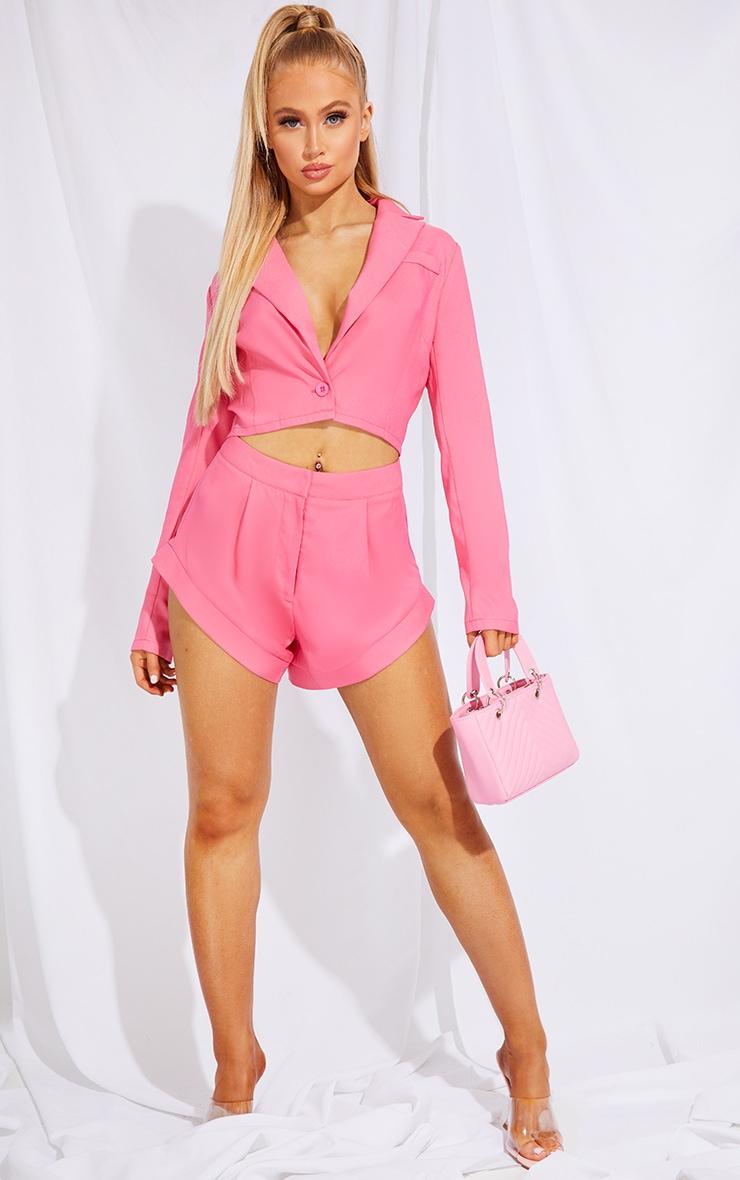 Hot Pink Pocket Button Cropped Blazer 3